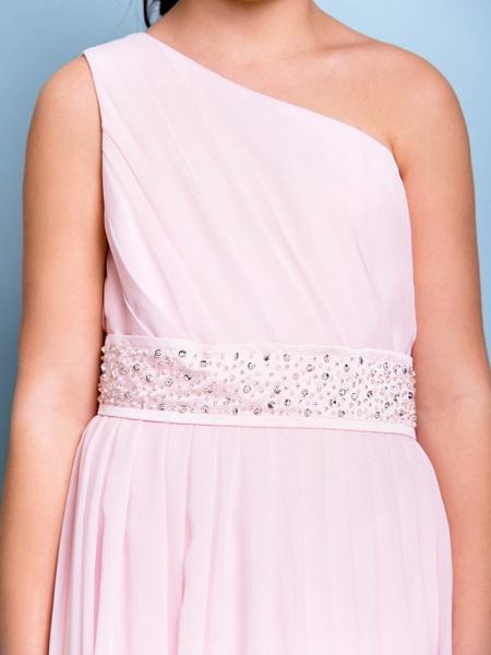 A-Line One Shoulder Floor Length Chiffon Junior Bridesmaid Dress With Sash / Ribbon / Beading / Side Draping / Natural_7