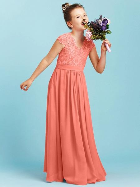 Princess / A-Line V Neck Floor Length Chiffon / Lace Junior Bridesmaid Dress With Sash / Ribbon / Pleats / Wedding Party_31