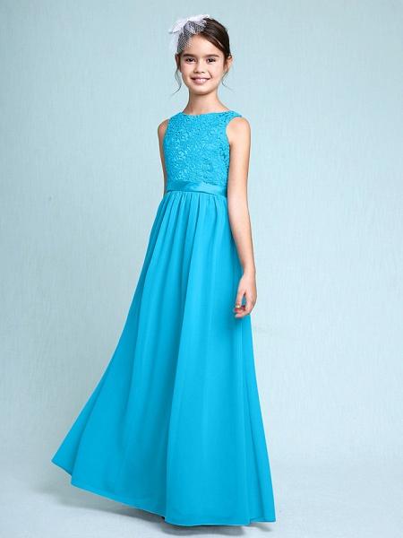 Sheath / Column Bateau Neck Floor Length Chiffon / Lace Junior Bridesmaid Dress With Lace / Natural_32