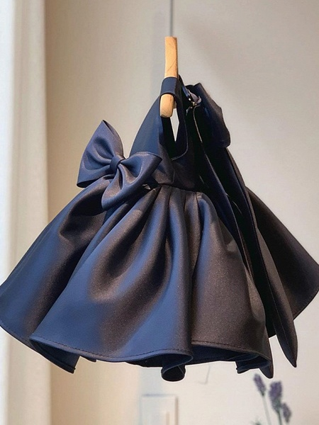 Princess / Ball Gown Short / Mini Wedding / Party Flower Girl Dresses - Satin Sleeveless Square Neck With Bow(S) / Pleats_5