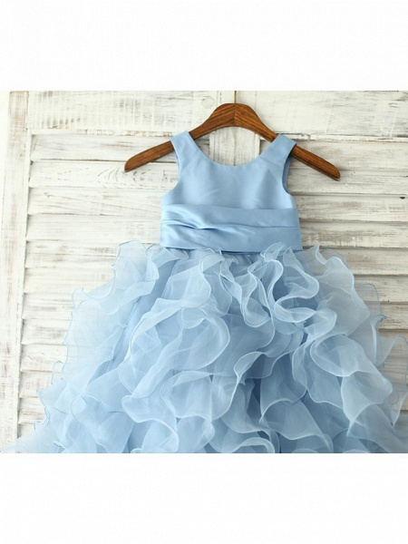 Princess / Sheath / Column Floor Length Pageant Flower Girl Dresses - Organza Sleeveless Jewel Neck With Sash / Ribbon / Flower_3