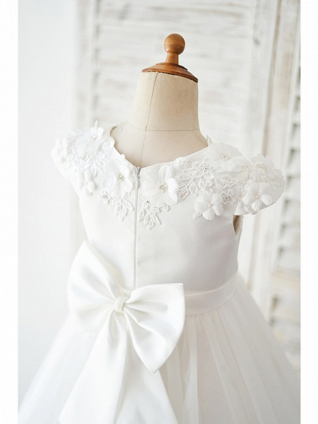 Ball Gown Knee Length Wedding / Birthday Flower Girl Dresses - Satin / Tulle Cap Sleeve Jewel Neck With Petal / Lace / Bow(S)_4