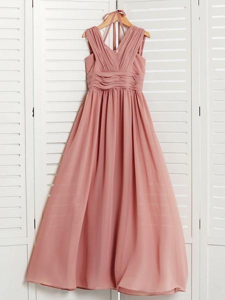 A-Line V Neck Maxi Chiffon Junior Bridesmaid Dress With Pleats / Ruching_6