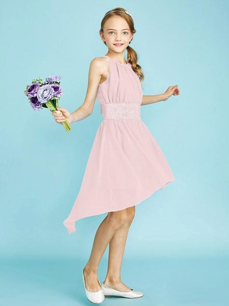 Sheath / Column Jewel Neck Asymmetrical Chiffon Junior Bridesmaid Dress With Sequin / Natural_22