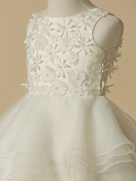 A-Line Knee Length Wedding / First Communion Flower Girl Dresses - Lace / Organza Sleeveless Scoop Neck With Lace_4