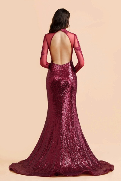 Burgundy Modern High Neck Sexy Split Open back Prom Dress_3