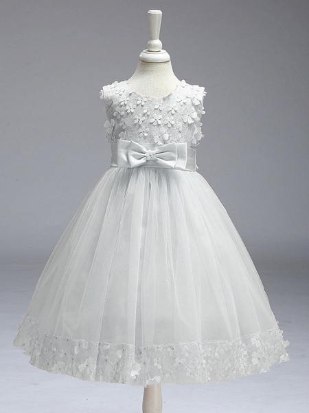 Ball Gown Knee Length Wedding / Party Flower Girl Dresses - Tulle Sleeveless Jewel Neck With Bow(S)_2