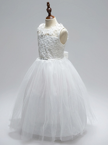 Ball Gown Floor Length Wedding / First Communion Flower Girl Dresses - Lace / Tulle Sleeveless Jewel Neck With Sash / Ribbon / Bow(S) / Appliques / Open Back_3