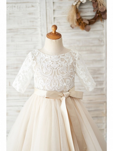 Ball Gown Knee Length Wedding / Birthday Flower Girl Dresses - Lace / Tulle Half Sleeve Jewel Neck With Belt / Buttons_3
