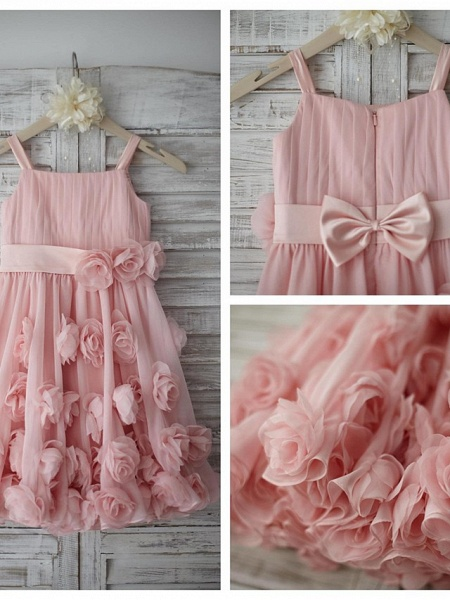 A-Line Knee Length Holiday Flower Girl Dresses - Chiffon Sleeveless Straps With Sash / Ribbon / Bow(S) / Draping_4