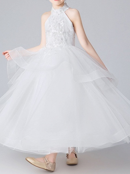 Ball Gown Floor Length Pageant Flower Girl Dresses - Polyester Sleeveless Halter Neck With Appliques_3