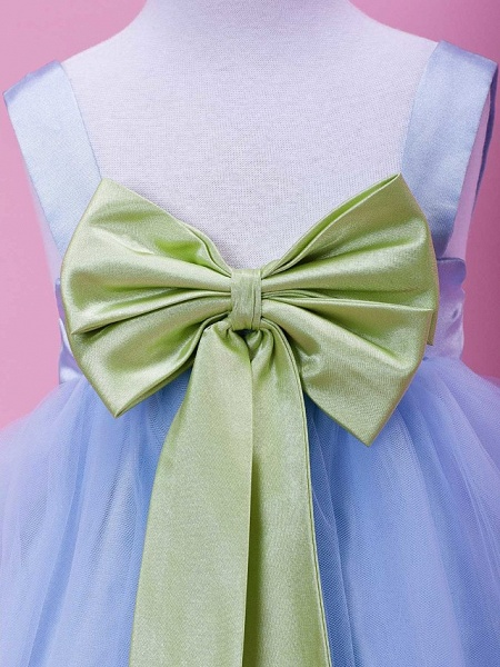 Princess / Ball Gown / A-Line Tea Length Wedding Party Tulle / Stretch Satin Sleeveless Straps With Bow(S) / Draping / Spring / Summer / Fall / Winter_4