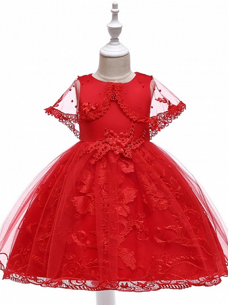 Princess Medium Length Wedding / First Communion Flower Girl Dresses - Lace / Tulle / Mikado Sleeveless Jewel Neck With Pearls / Appliques / Bandage_9