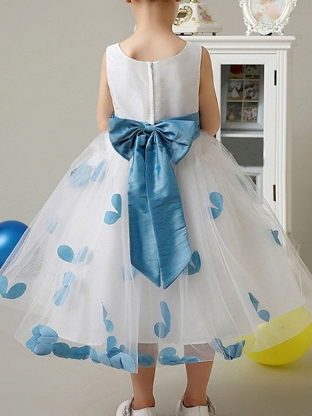 A-Line Knee Length Pageant Flower Girl Dresses - Polyester Sleeveless Scoop Neck With Bow(S) / Pattern / Print / Appliques_5
