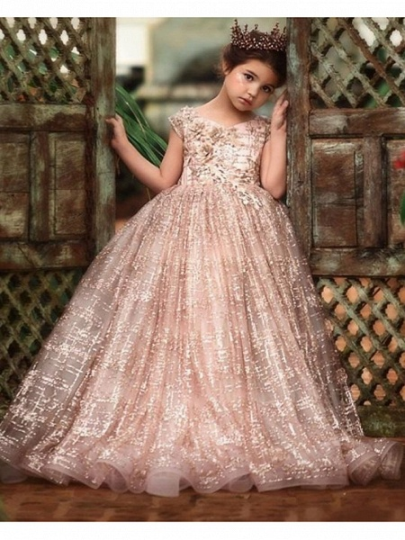 Ball Gown Sweep / Brush Train Wedding Flower Girl Dresses - Tulle Sleeveless Jewel Neck With Pick Up Skirt / Bow(S) / Solid_2