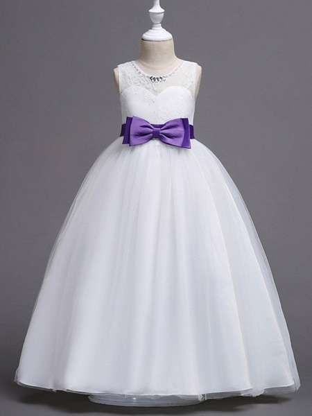 Princess / Ball Gown Floor Length Wedding / Party Flower Girl Dresses - Tulle Sleeveless Jewel Neck With Sash / Ribbon / Bow(S) / Embroidery_5