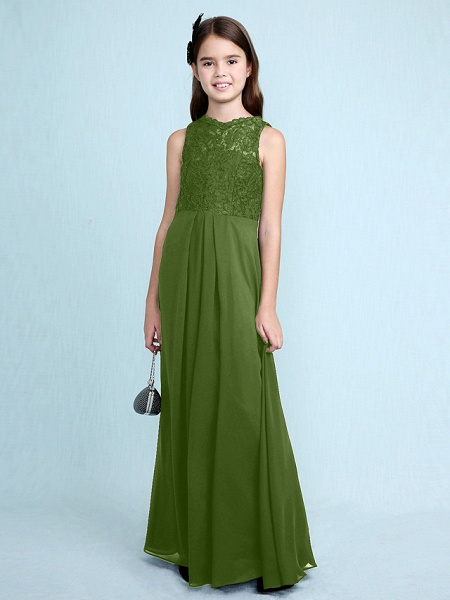 Sheath / Column Scoop Neck Floor Length Chiffon / Lace Junior Bridesmaid Dress With Lace / Natural_43