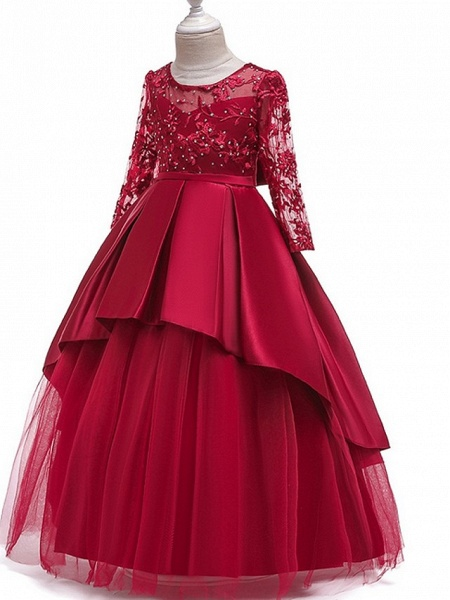 Princess Round Floor Length Cotton Junior Bridesmaid Dress With Bow(S) / Pleats / Crystals_6