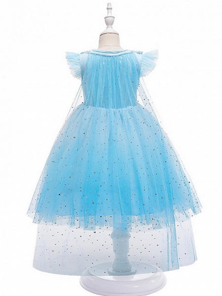 Princess / Ball Gown Knee Length Wedding / Party Flower Girl Dresses - Tulle Cap Sleeve Jewel Neck With Tier / Paillette_5