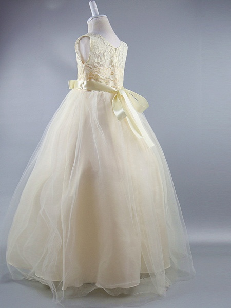 Ball Gown Ankle Length Wedding / First Communion / Pageant Flower Girl Dresses - Satin Sleeveless Jewel Neck With Lace / Sash / Ribbon / Draping / Elegant / Beautiful Back / See Through_5