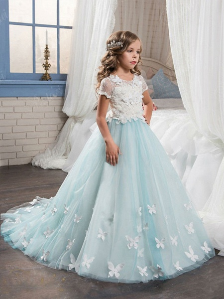 Ball Gown Sweep / Brush Train Wedding / Birthday / Pageant Flower Girl Dresses - Tulle / Cotton Short Sleeve Jewel Neck With Lace / Embroidery / Appliques_1