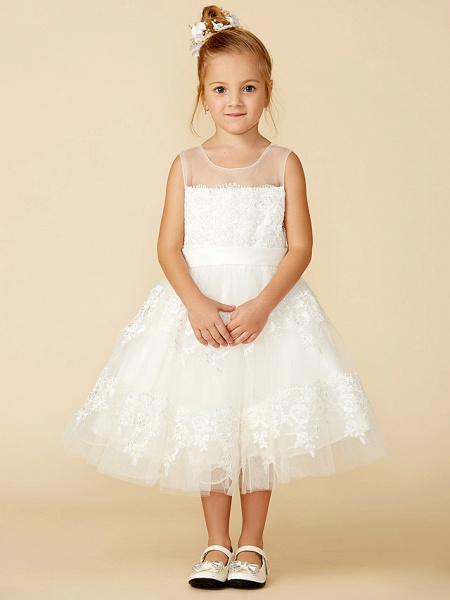 A-Line Tea Length Wedding / First Communion Flower Girl Dresses - Lace Sleeveless Jewel Neck With Lace / Sash / Ribbon_5