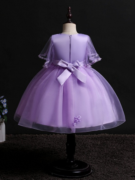 Princess Midi Wedding / Birthday Satin / Tulle Sleeveless Jewel Neck With Bow(S) / Pearls / Beading_8
