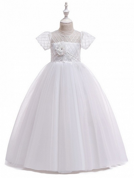 Ball Gown Round Floor Length Cotton Junior Bridesmaid Dress With Bow(S) / Appliques_2