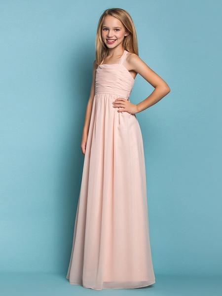 Sheath / Column Halter Neck Floor Length Chiffon Junior Bridesmaid Dress With Ruched / Spring / Summer / Fall / Apple / Hourglass_3