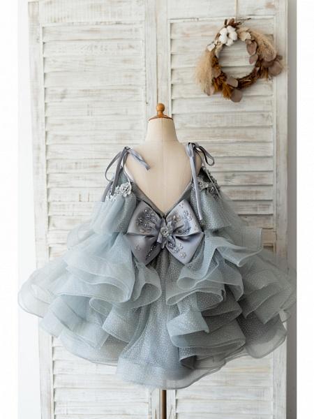 Ball Gown Knee Length Wedding / Birthday Flower Girl Dresses - Tulle Sleeveless Spaghetti Strap With Bow(S) / Beading / Flower_2