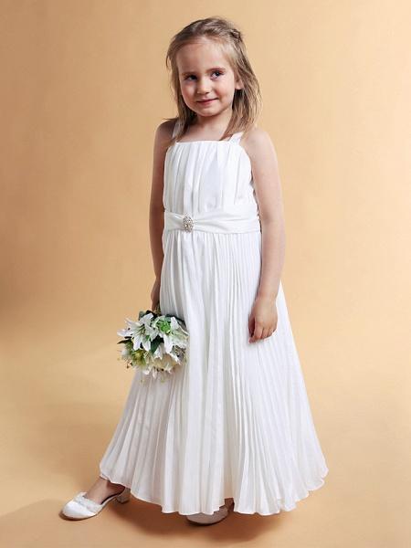 A-Line Square Floor-Length Taffeta Flower Girl Dress_2