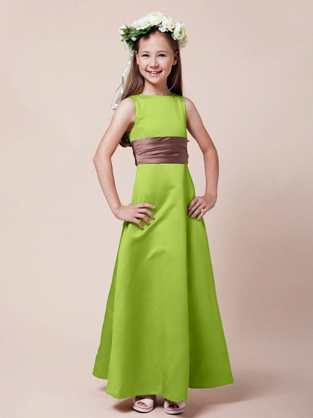Princess / A-Line Bateau Neck Floor Length Satin Junior Bridesmaid Dress With Sash / Ribbon / Ruched / Spring / Summer / Fall / Winter / Apple_25