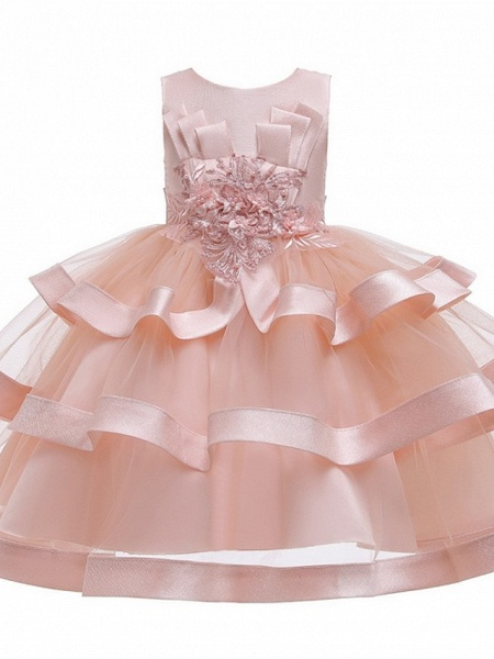 Princess / Ball Gown Knee Length Wedding / Party Flower Girl Dresses - Tulle Sleeveless Jewel Neck With Bow(S) / Appliques / Cascading Ruffles_7