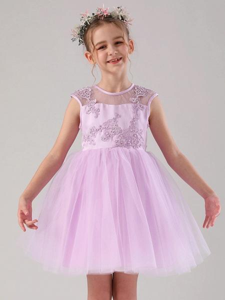 Princess / Ball Gown Medium Length Wedding / Birthday Flower Girl Dresses - Satin / Tulle Sleeveless Jewel Neck With Beading / Appliques / Solid_1