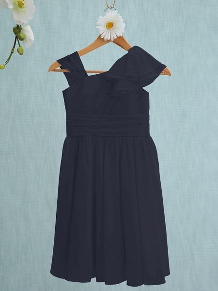 Sheath / Column Straps Knee Length Chiffon Junior Bridesmaid Dress With Ruffles / Side Draping / Natural_35
