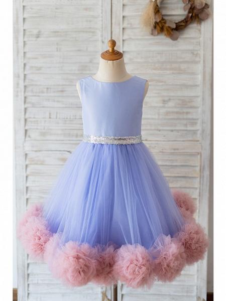 Ball Gown Knee Length Wedding / Birthday Flower Girl Dresses - Satin / Tulle Sleeveless Jewel Neck With Belt / Ruffles_1