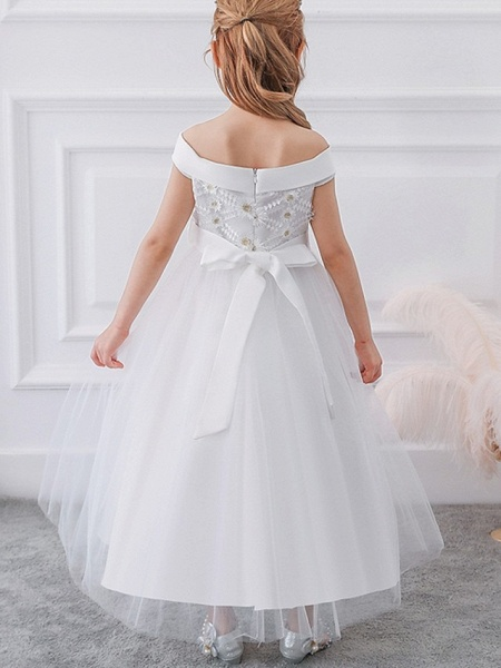 Princess / Ball Gown Floor Length Wedding / Party Flower Girl Dresses - Tulle Short Sleeve Off Shoulder With Sash / Ribbon / Bow(S) / Appliques_7