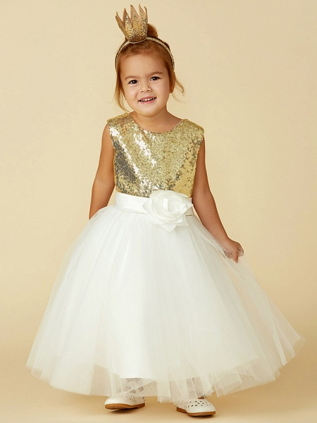 Princess Knee Length Pageant Flower Girl Dresses - Tulle / Sequined Sleeveless Jewel Neck With Sash / Ribbon / Bow(S) / Flower_1