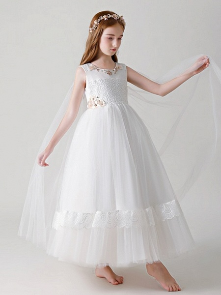 Ball Gown Round Floor Length Tulle Junior Bridesmaid Dress With Crystals / Appliques_3