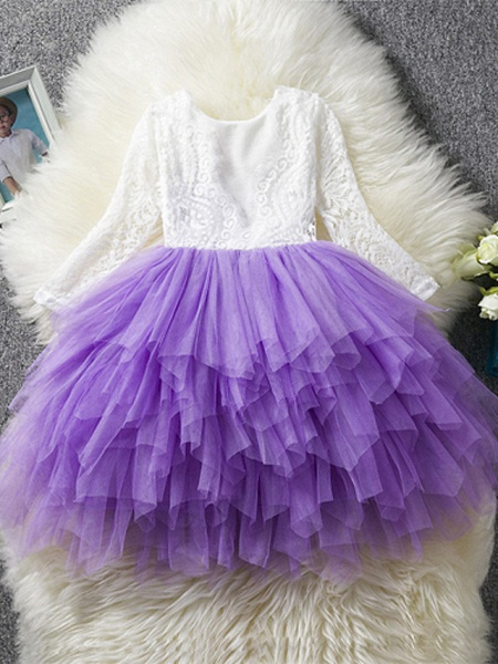 Princess / Ball Gown Floor Length Wedding / Party Flower Girl Dresses - Lace / Tulle Long Sleeve Jewel Neck With Bow(S)_5