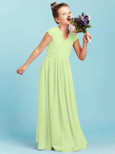 Princess / A-Line V Neck Floor Length Chiffon / Lace Junior Bridesmaid Dress With Sash / Ribbon / Pleats / Wedding Party_39