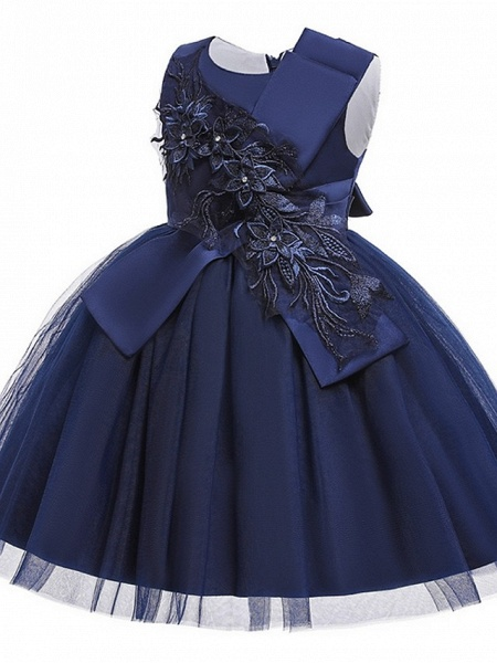 Princess / Ball Gown Knee Length Wedding / Party Flower Girl Dresses - Satin / Tulle Sleeveless Jewel Neck With Bow(S) / Appliques_7