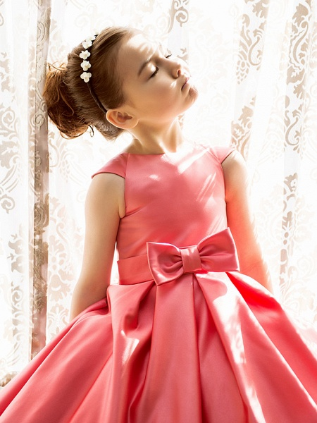 Princess / A-Line Tea Length Pageant Flower Girl Dresses - Satin Short Sleeve Jewel Neck With Bow(S)_6