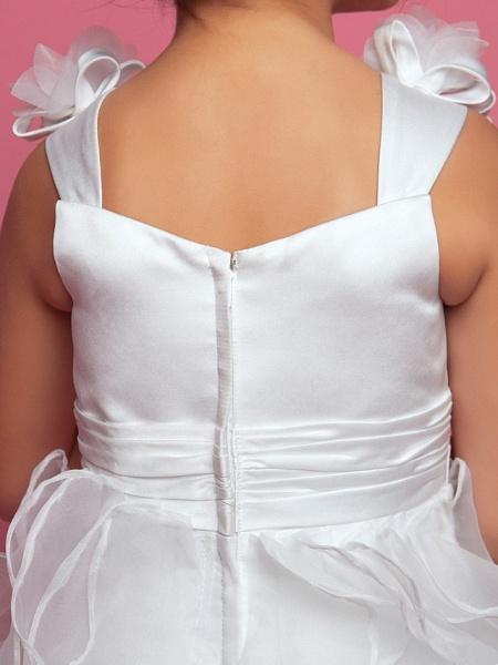 Princess / A-Line Floor Length Organza / Satin Sleeveless Straps With Sash / Ribbon / Ruched / Cascading Ruffles_7