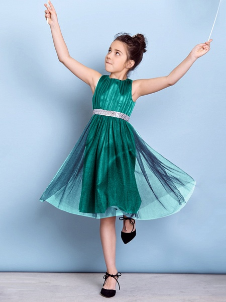 A-Line Jewel Neck Knee Length Tulle Junior Bridesmaid Dress With Sash / Ribbon / Sequin / Draping / Natural_12