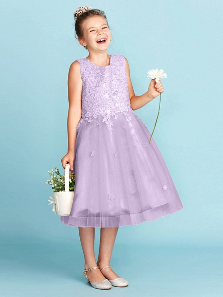 Princess / A-Line Jewel Neck Knee Length Lace / Tulle Junior Bridesmaid Dress With Bow(S) / Appliques / Wedding Party_31