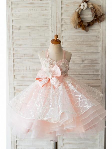 Ball Gown Knee Length Wedding / Birthday Flower Girl Dresses - Tulle Sleeveless Spaghetti Strap With Bow(S) / Pearls / Flower_1