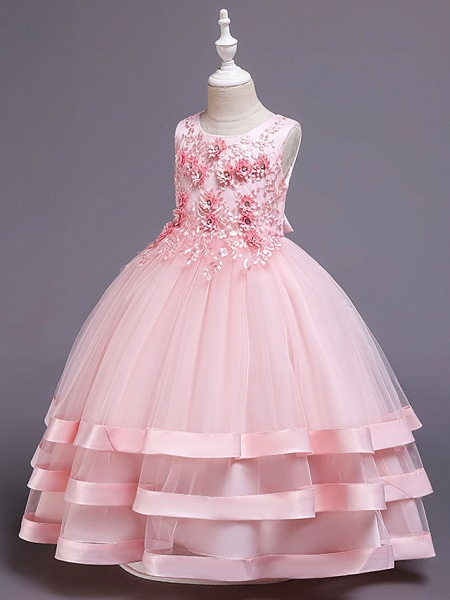 Princess Medium Length Wedding / Party / Pageant Flower Girl Dresses - Satin / Tulle / Cotton Sleeveless Jewel Neck With Belt / Embroidery / Appliques_6