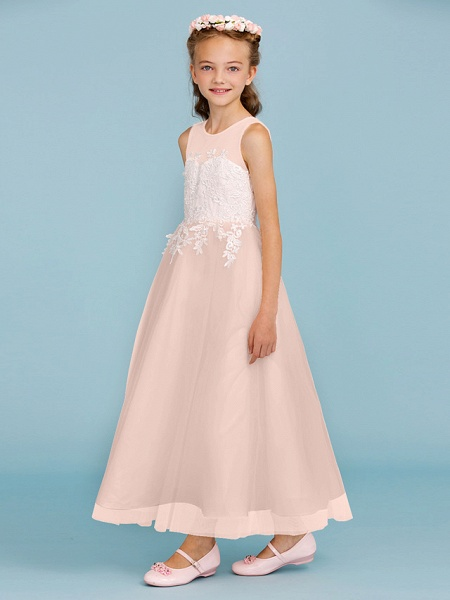 Princess / A-Line Jewel Neck Ankle Length Lace / Tulle Junior Bridesmaid Dress With Sash / Ribbon / Appliques / Wedding Party / Open Back_19