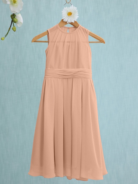 Sheath / Column Jewel Neck Knee Length Chiffon Junior Bridesmaid Dress With Ruched / Natural_10